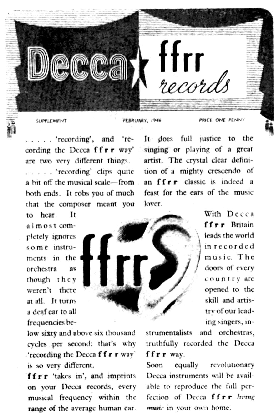 Decca advert announcing the benefits of full frequency range recording