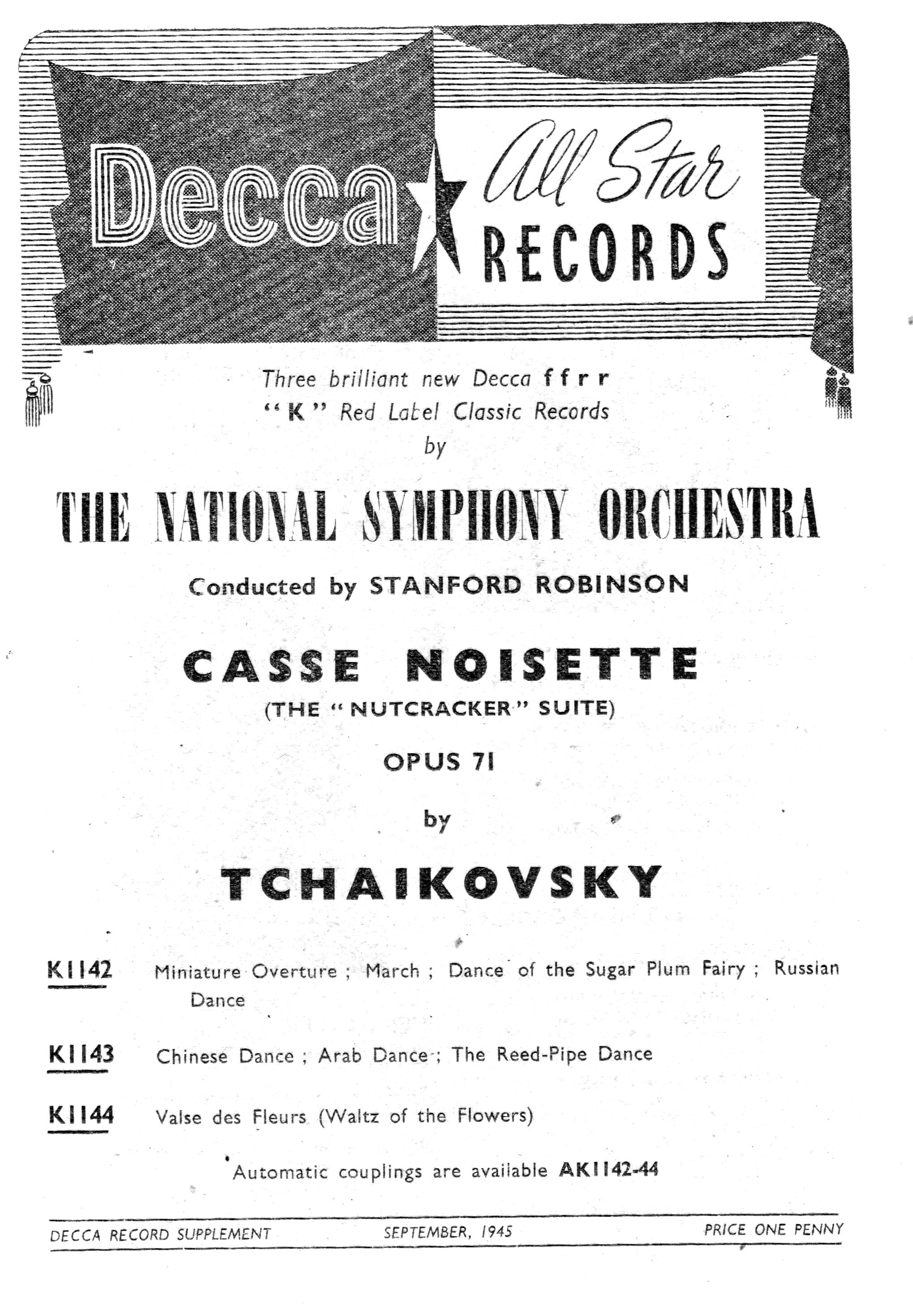 Decaa Sptember 1945 supplement announcing the release of Tchaikovsky's Nutcracker Siute played by the National Symphony Orcestra condutor Stamford Robinson