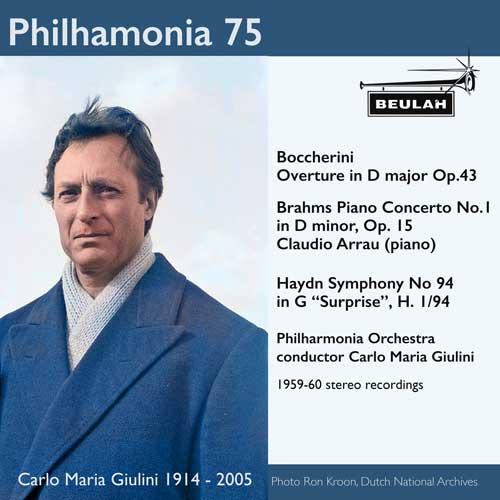 1PS58 Philharmonia 75 carlo maria giulini boccherini overture in d major brahams pinao concerto number 1 haydn symphony 94