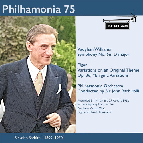 2PS58 Philharmonia 75 sir john barbirolli vaughan williams symphony  number 5 elgar enigma variations