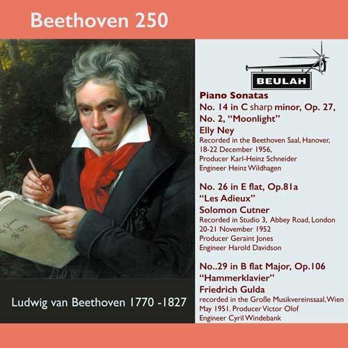 9PS57 beethoven 250 piano sonatas numbers 14 moonlight 26 les adieux 29 hammerklavier